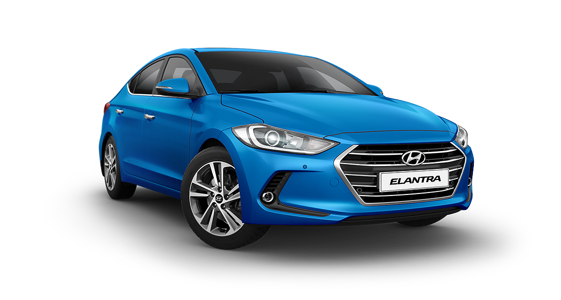 Right side front view of blue Elantra