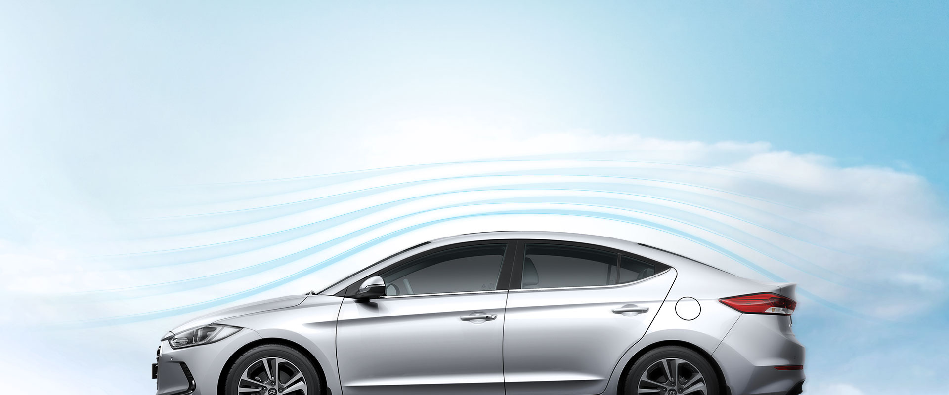 Aerodynamic graphic around the exterior of silver Elantra