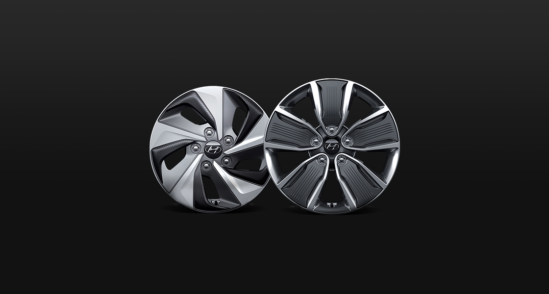 Two alloy wheels in different design and sizes